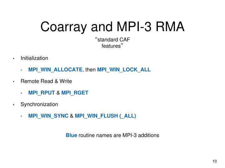 Coarray and MPI-3 RMA