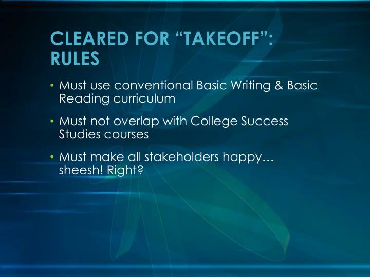 """CLEARED FOR """"TAKEOFF"""": RULES"""