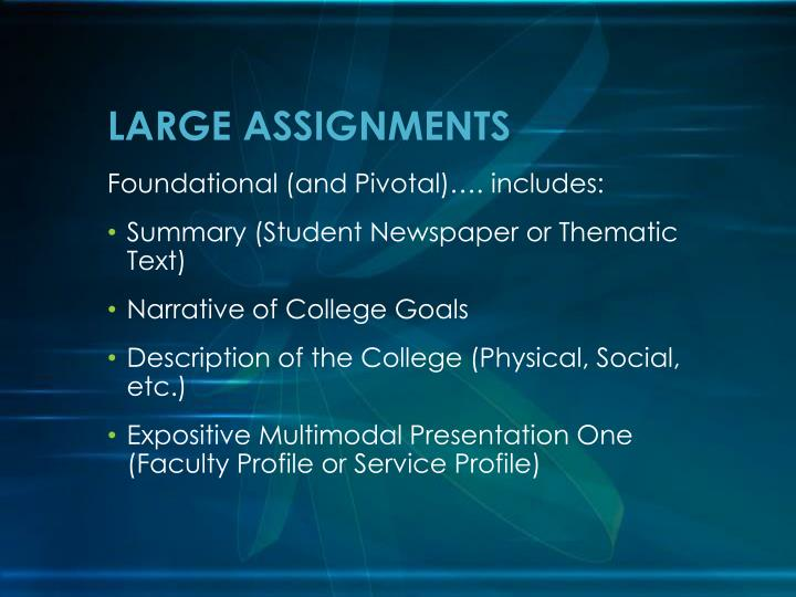 LARGE ASSIGNMENTS