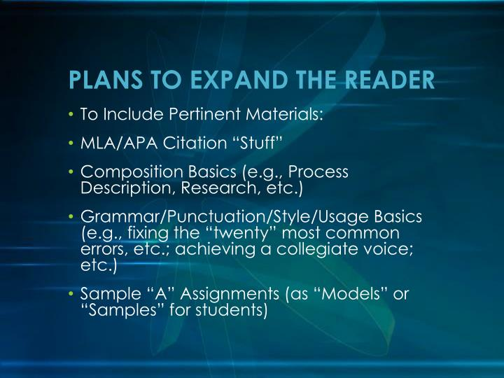 PLANS TO EXPAND THE READER