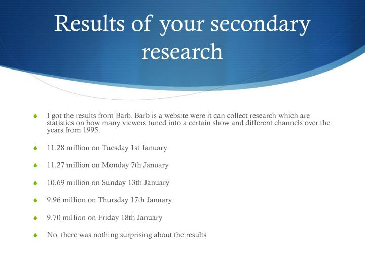 Results of your secondary research