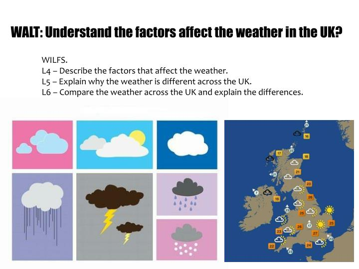 Walt understand the factors affect the weather in the uk