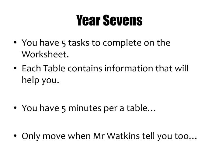 Year Sevens