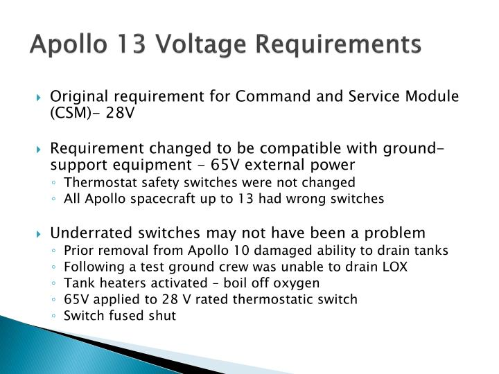 Apollo 13 voltage requirements