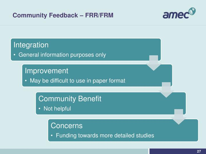 Community Feedback – FRR/FRM