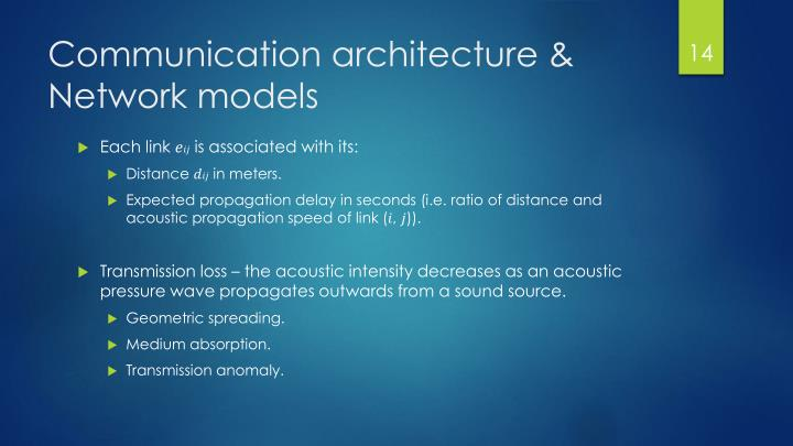Communication architecture & Network models