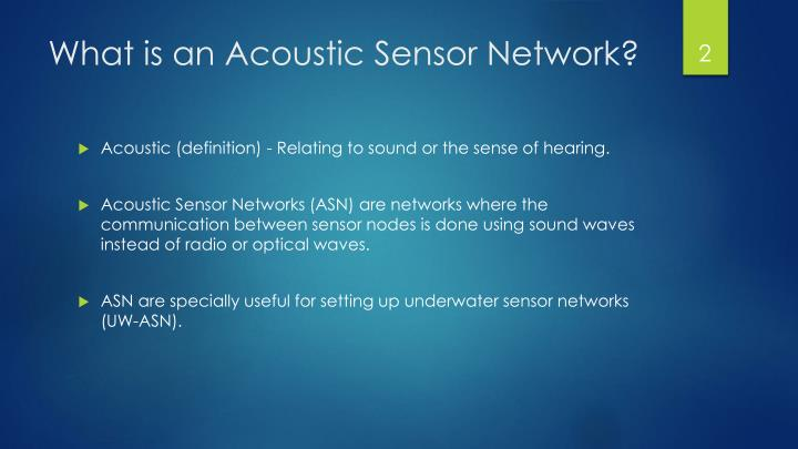 What is an acoustic sensor network