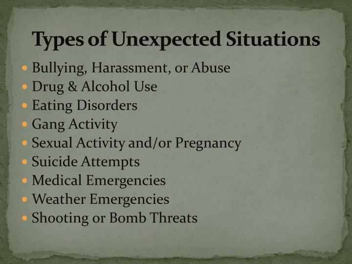 Types of unexpected situations
