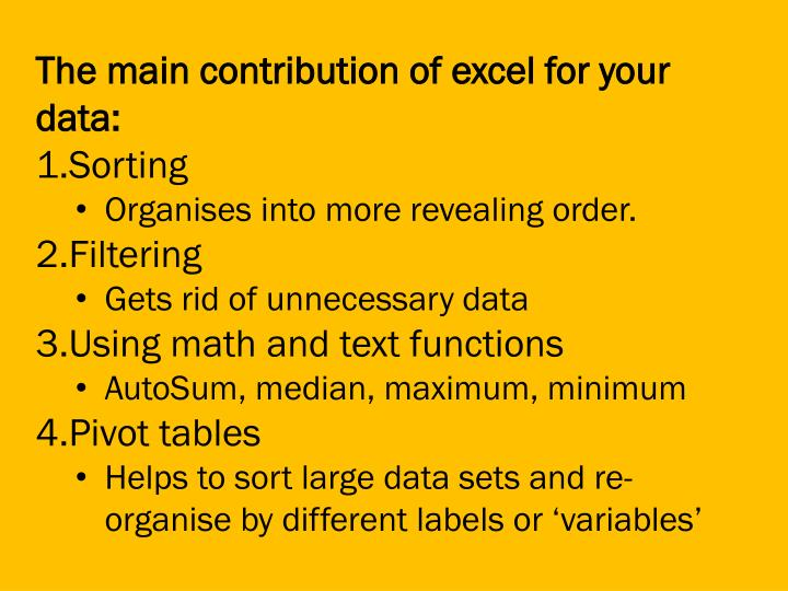 The main contribution of excel for your data: