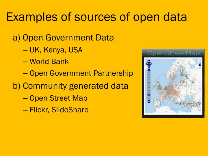 Examples of sources of open data