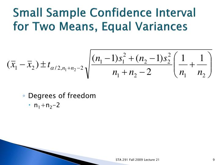 Small Sample Confidence Interval for Two Means, Equal Variances