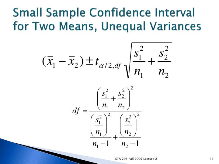Small Sample Confidence Interval for Two Means, Unequal Variances