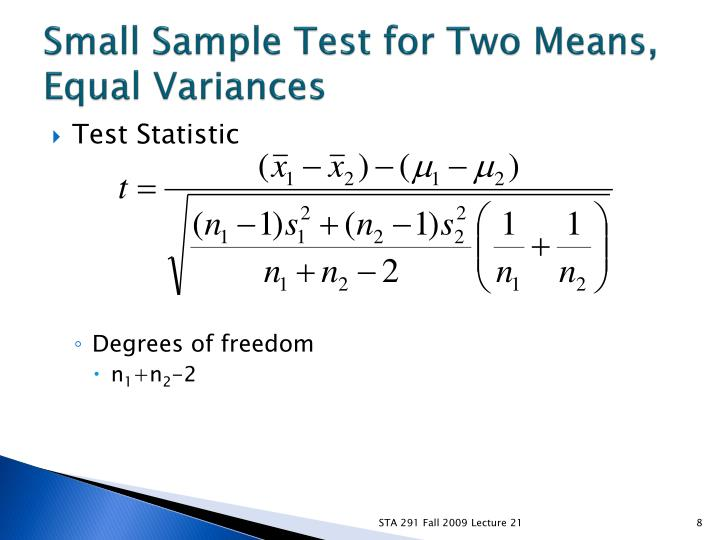 Small Sample Test for Two Means, Equal Variances