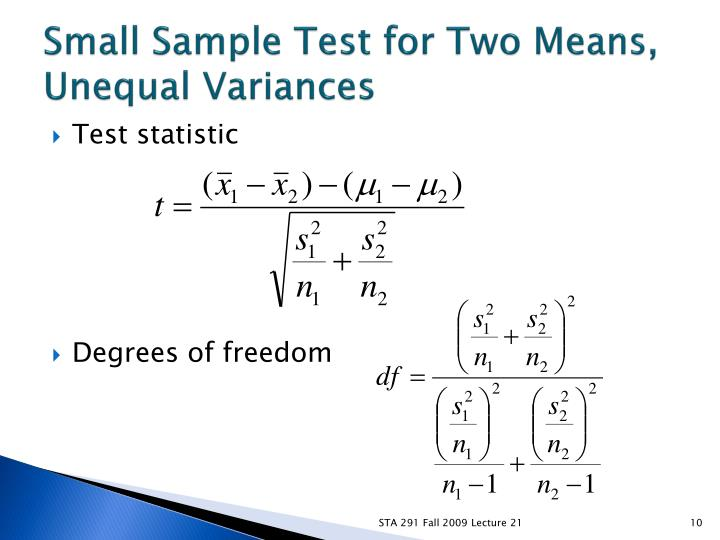 Small Sample Test for Two Means, Unequal Variances