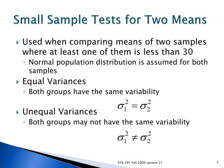 Small Sample Tests for Two Means
