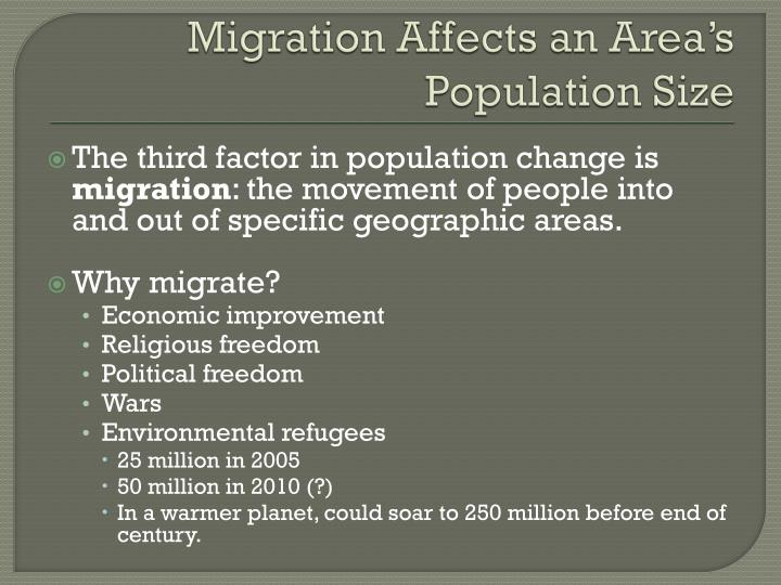 Migration Affects an Area's Population Size