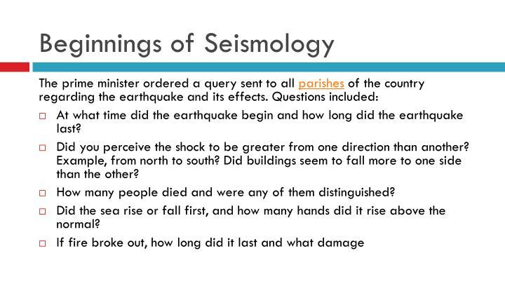 Beginnings of Seismology