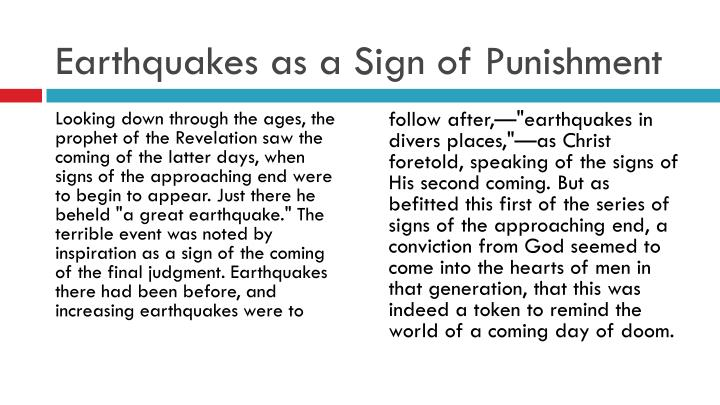 Earthquakes as a Sign of Punishment