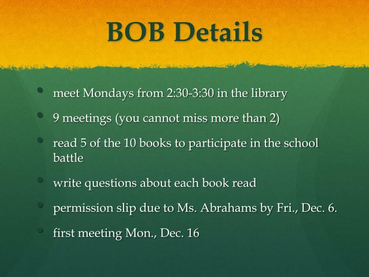 BOB Details
