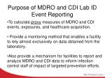 purpose of mdro and cdi lab id event reporting