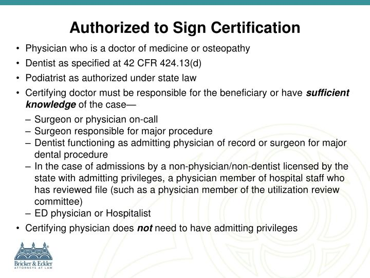 Authorized to Sign Certification