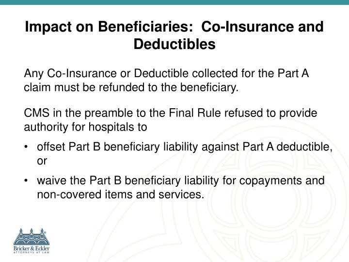 Impact on Beneficiaries:  Co-Insurance and Deductibles