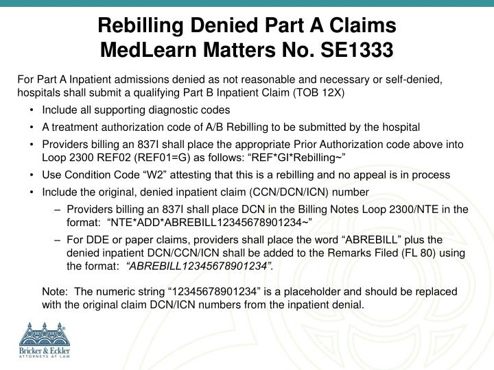 Rebilling Denied Part A Claims