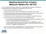rebilling denied part a claims medlearn matters no se1333