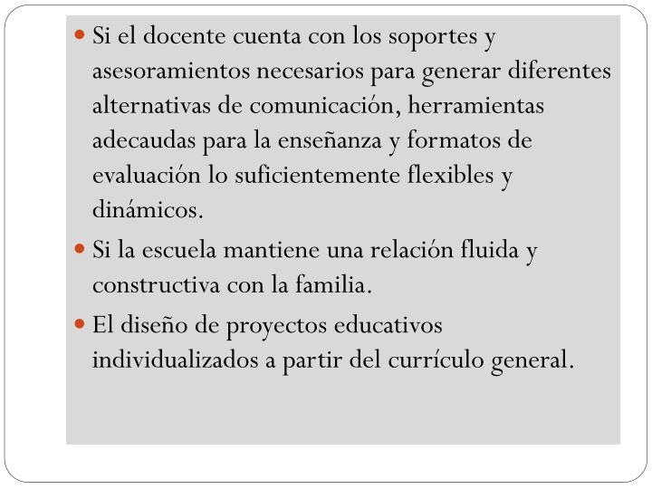 Si el docente cuenta con los soportes y asesoramientos necesarios para generar diferentes alternativas de comunicación, herramientas