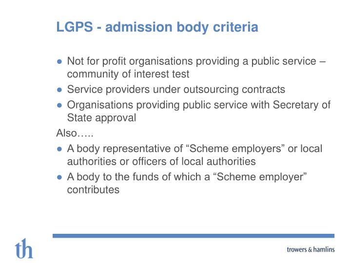 LGPS - admission body criteria