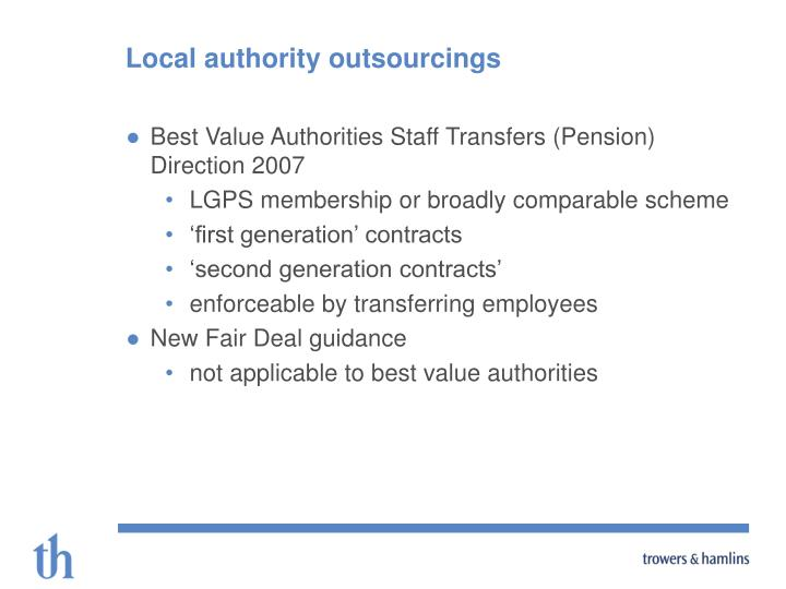 Local authority outsourcings