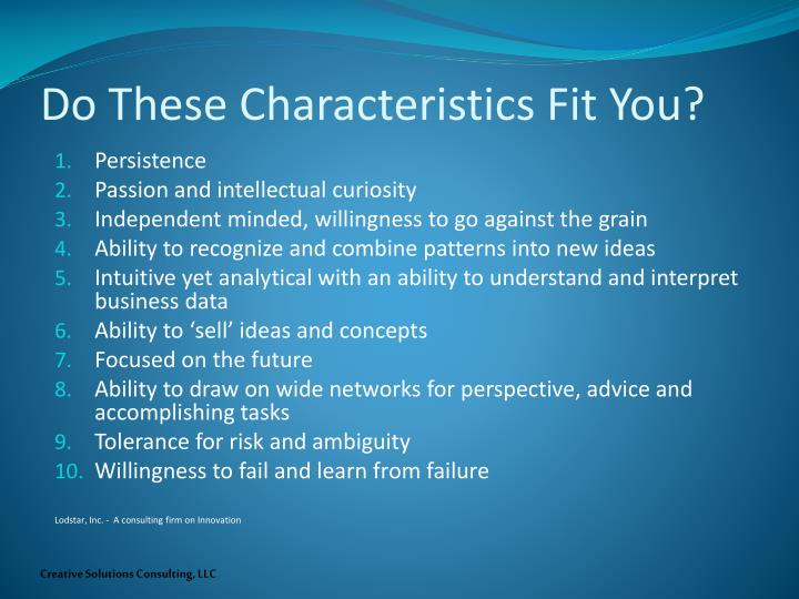 Do These Characteristics Fit You?