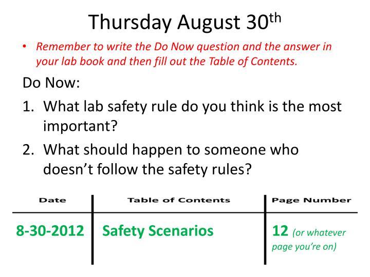 Thursday August 30