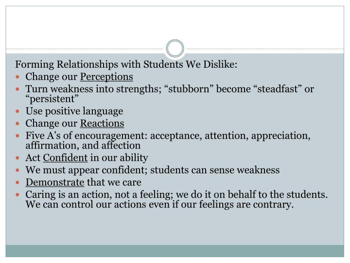 Forming Relationships with Students We Dislike: