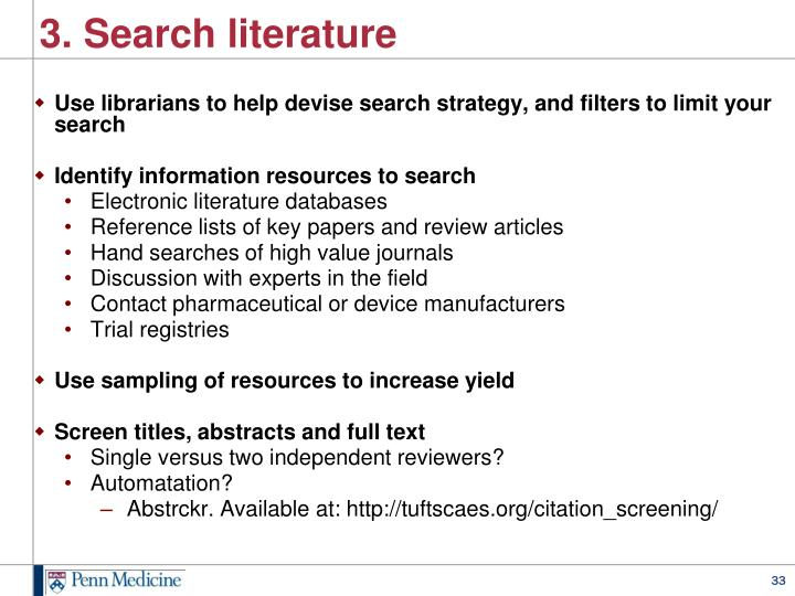 3. Search literature