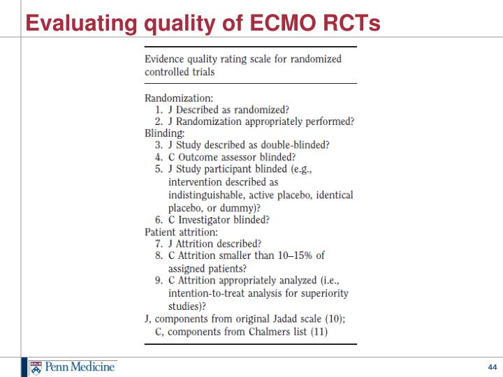 Evaluating quality of ECMO RCTs