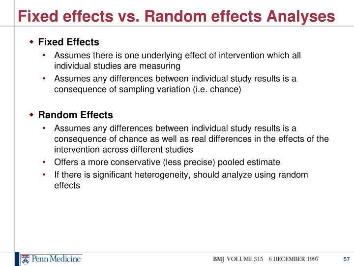 Fixed effects vs. Random effects Analyses