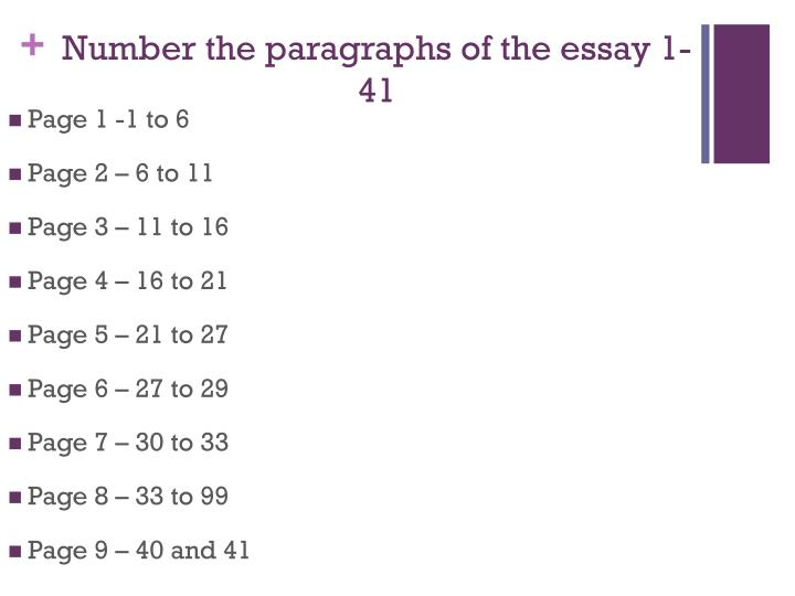 Number the paragraphs of the essay 1-41