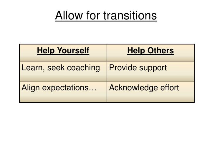 Allow for transitions