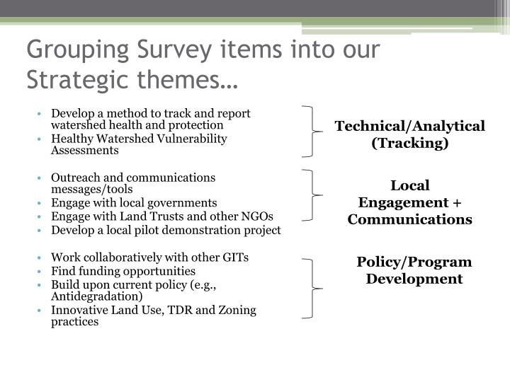 Grouping Survey items into our Strategic themes…