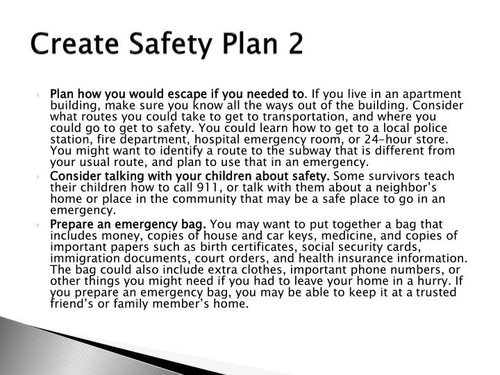 Create Safety Plan 2