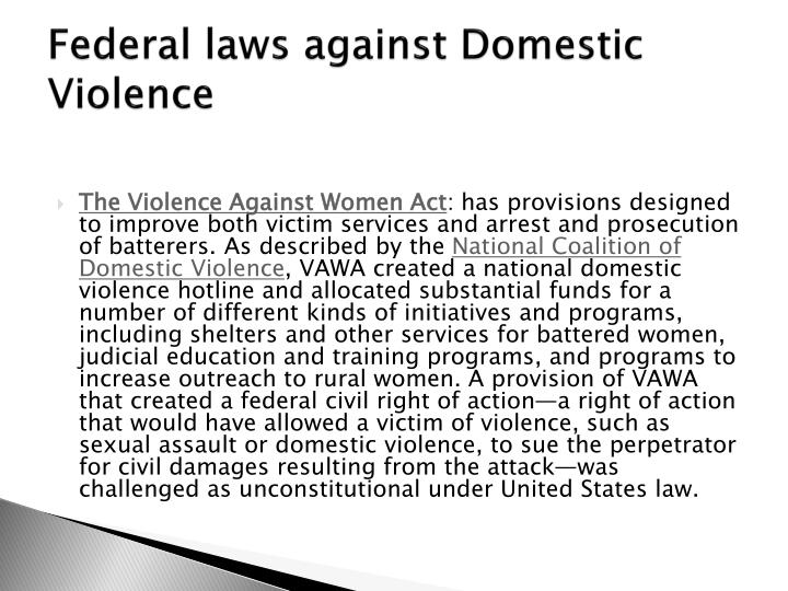 Federal laws against Domestic Violence
