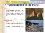 overpopulation of the planet
