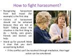 how to fight harassment