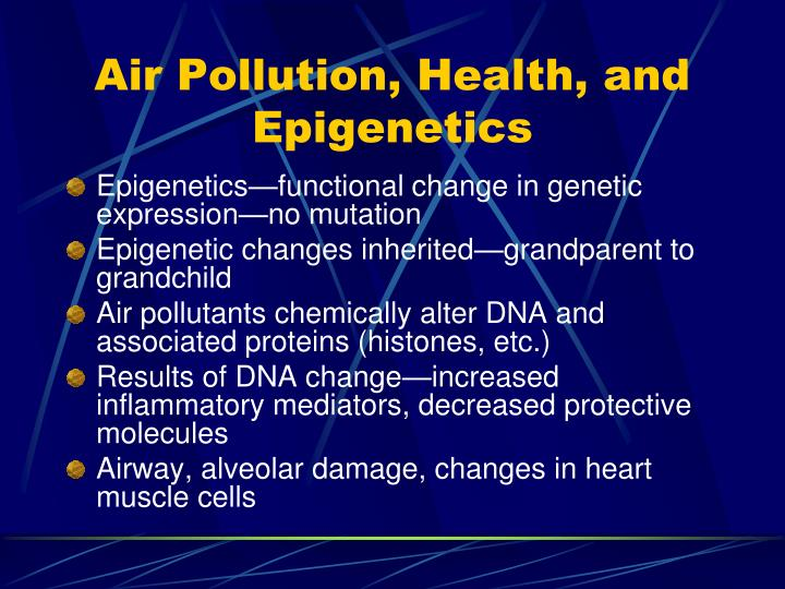 Air Pollution, Health, and Epigenetics