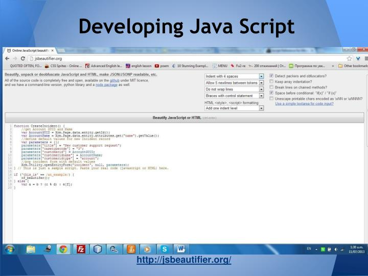 Developing Java Script