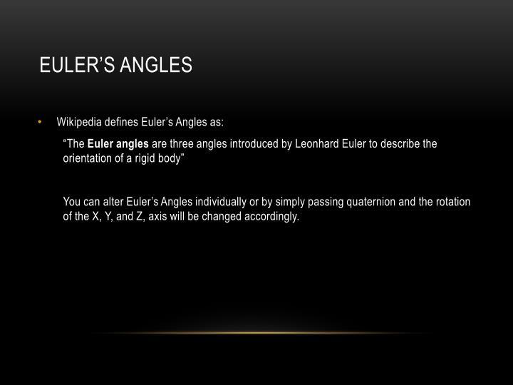 Euler's Angles