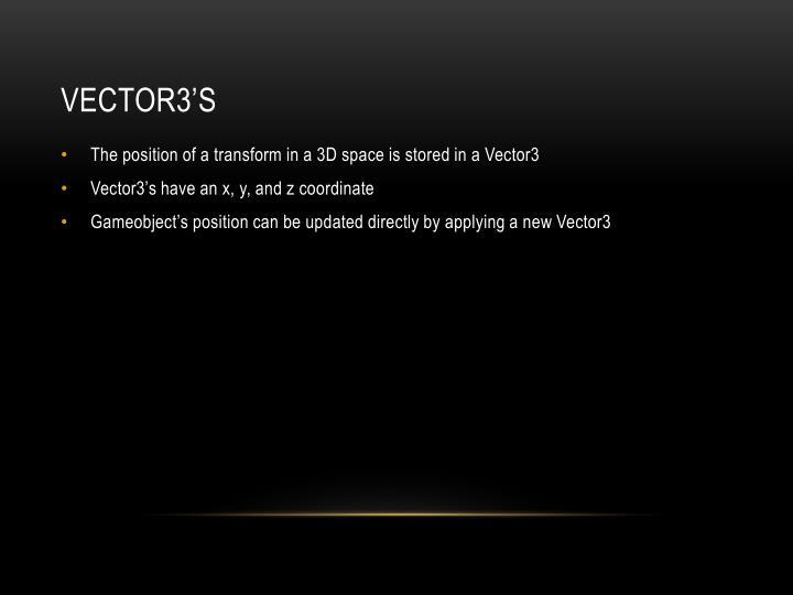 Vector3's