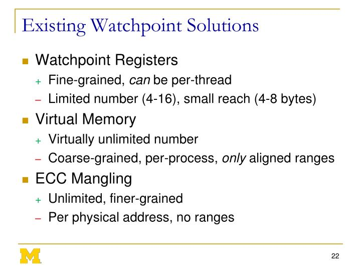 Existing Watchpoint Solutions