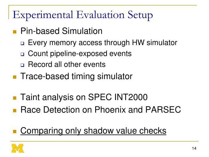 Experimental Evaluation Setup